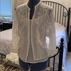 Sheer cream embroidered top with cami
